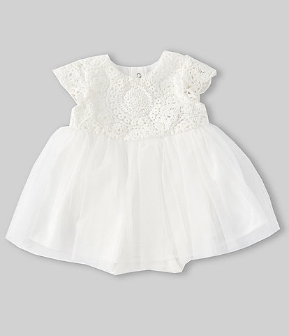 6487a93b13ec Edgehill Collection Baby Girls Newborn-6 Months Crochet/Tulle Bodysuit