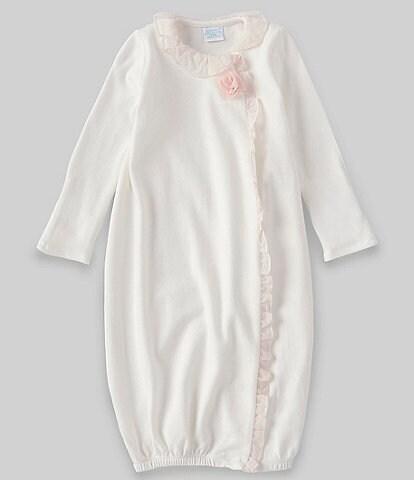 Edgehill Collection Baby Girls Newborn-6 Months Long-Sleeve 3D Rosette Gown