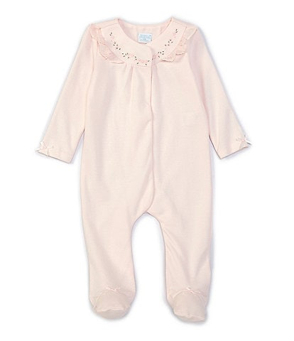 Edgehill Collection Baby Girls Newborn-6 Months Long-Sleeve Bow-Detail Ruffled Footed Coverall