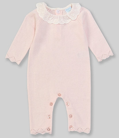 Edgehill Collection Baby Girls Newborn-6 Months Long-Sleeve Lace Collar Scallop Trim Coverall