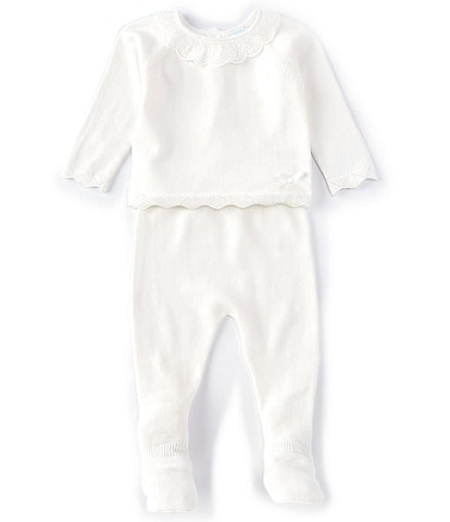 Edgehill Collection Baby Girls Newborn-6 Months Long-Sleeve Lace-Ruffle Top & Footed Pant Set
