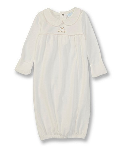 Edgehill Collection Baby Girls Newborn-6 Months Long-Sleeve Sheep Embroidered Gown