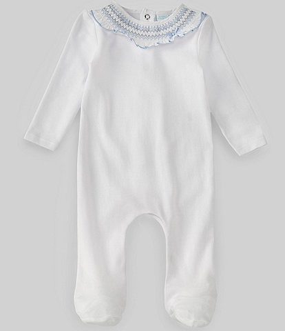 Edgehill Collection Baby Girls Newborn-6 Months Long-Sleeve Smocking Footed Coverall