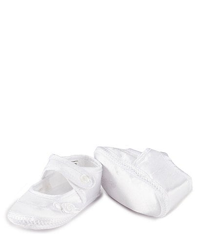 Edgehill Collection Baby Girls' Newborn-9 Months Mary Jane Rosebud Crib Shoe Christening Shoes