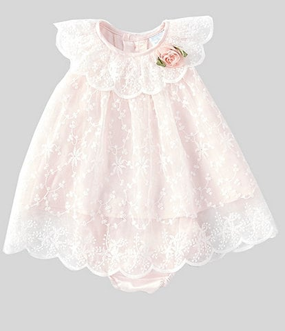 Edgehill Collection Baby Girls Newborn-24 Months Rosette Lace A-Line Dress