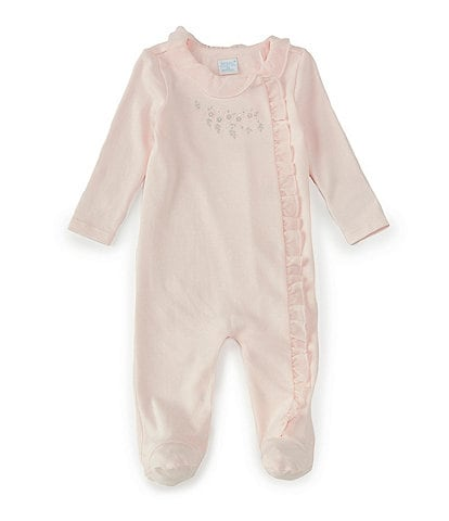 Edgehill Collection Baby Girls Preemie-6 Months Long-Sleeve Floral-Embroidered Footed Coverall