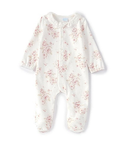 Edgehill Collection Baby Girls Preemie-6 Months Long-Sleeve Floral Footed Coverall