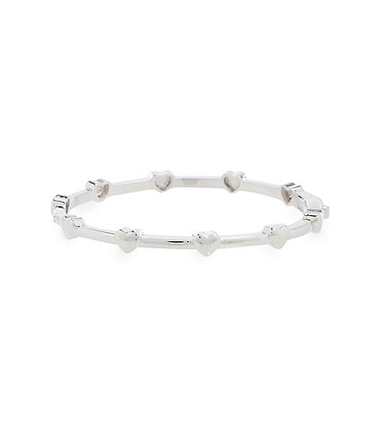 Edgehill Collection Baby Girls Silver Plated Brass Heart Hinged Bangle Bracelet