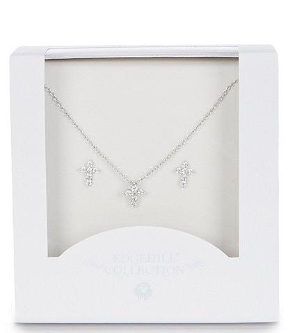 Edgehill Collection Girls Cross Necklace & Earings Set
