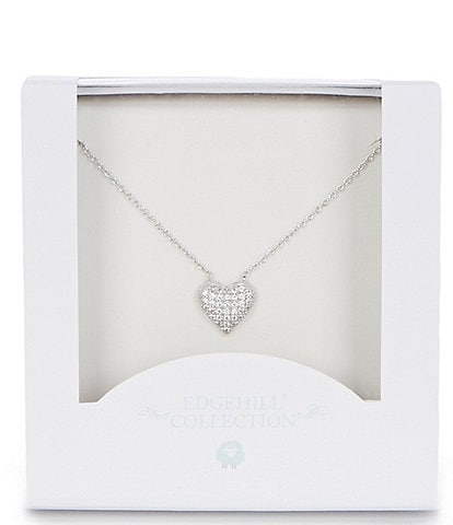 Edgehill Collection Girls Pave Heart Necklace