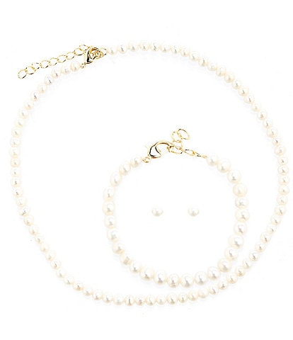 Edgehill Collection Girls Pearl Necklace, Bracelet, and Stud Earrings Set