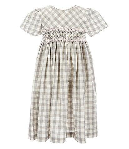 Edgehill Collection Little Girls 2T-4T Smocked Grey Buffalo Check Dress