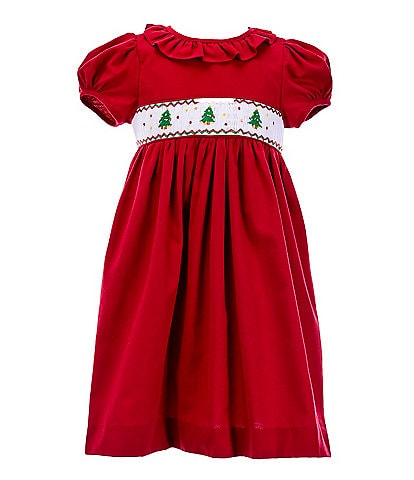 Edgehill Collection Little Girls 2T-6X Christmas Tree Smocked Dress