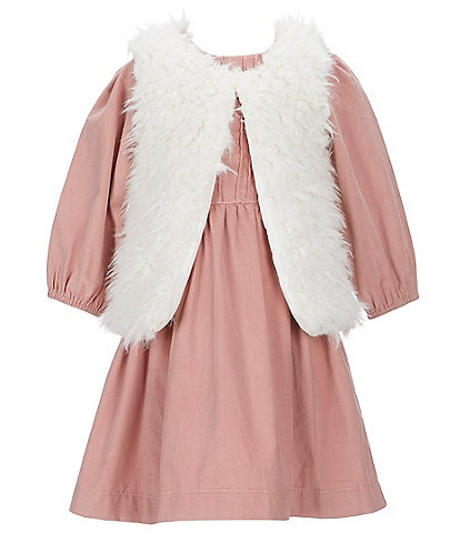 Edgehill Collection Little Girls 2T-6X Corduroy Dress & Faux-Fur Vest Set