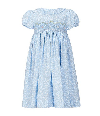 Edgehill Collection Little Girls 2T-6X Ditsy Floral Smocked A-Line Dress