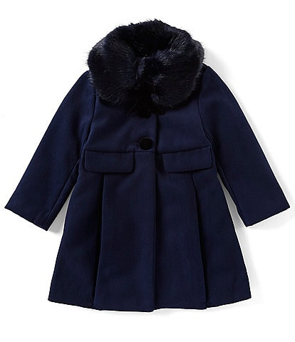 Edgehill Collection Little Girls 2T-6X Faux Fur Collar Peacoat