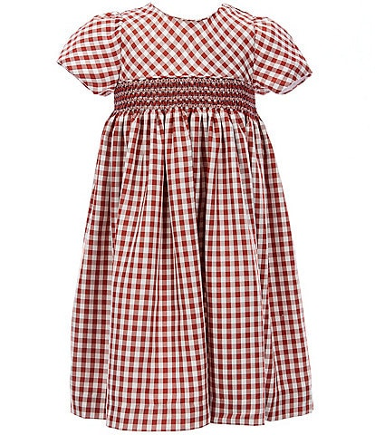 Edgehill Collection Little Girls 2T-6X Gingham Smocked A-Line Cotton Dress