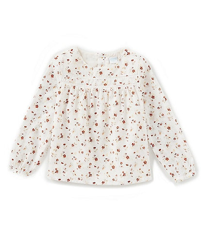 Edgehill Collection Little Girls 2T-6X Long-Sleeve Floral/Lace Top