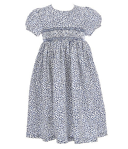 Edgehill Collection Little Girls 2T-6X Smocked Abstract Mini Floral Dress