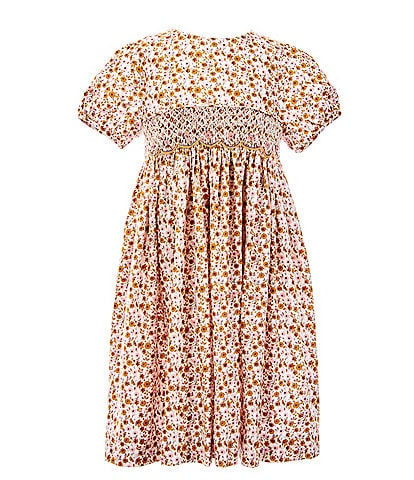Edgehill Collection Little Girls 5-6X Fall Floral Smocked A-Line Dress