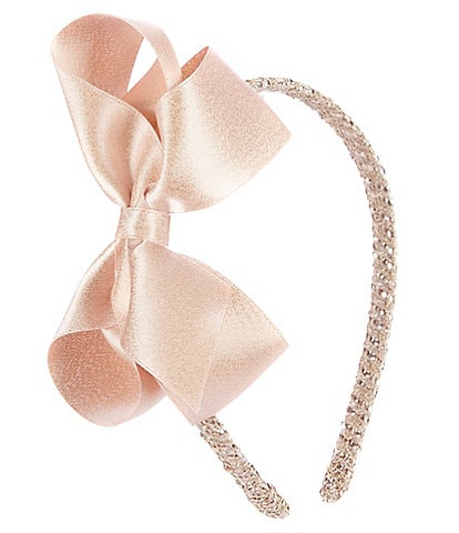 Edgehill Collection Little Girls Sparkle Satin Bow Wrap Headband