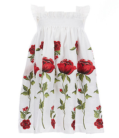 Edgehill Collection Mommy & Me Little Girls 2T-6X Rose Floral Print Ruffle Strap Dress