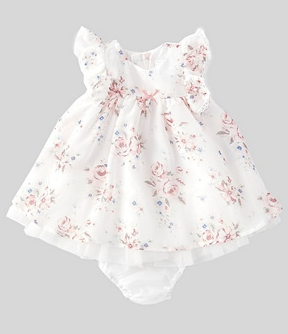 Edgehill Collection Baby Girls Newborn-9 Months Floral Chiffon Dress & Panty Set