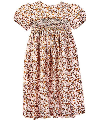 Edgehill Collection Toddler Girls 2T-4T Fall Floral Smocked A-Line Dress