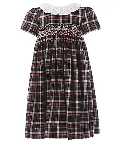 Edgehill Collection Toddler Girls 2T-4T Ruffle Round Collar Smocked Plaid A-Line Dress