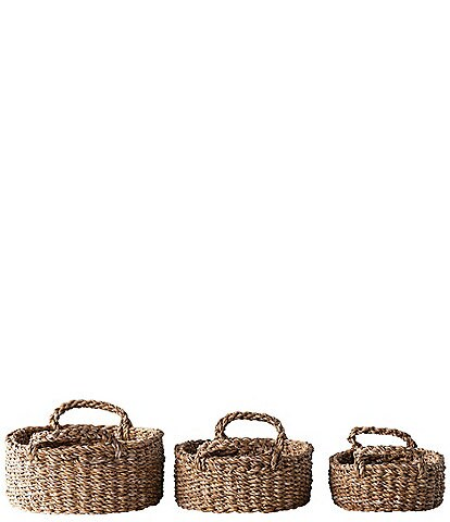 Edgehill Collection Woven Seagrass Set of 3 Baskets with Handles