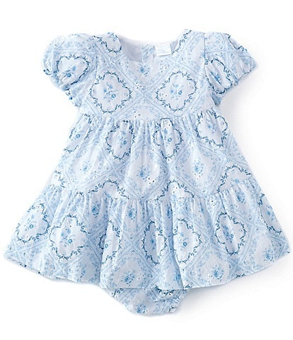 Edgehill Collection x Born On Fifth Baby Girls 12-24 Months Floral Tile Print Dress