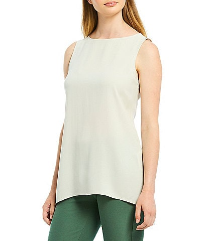 Eileen Fisher Bateau Neck Tunic Silk Shell