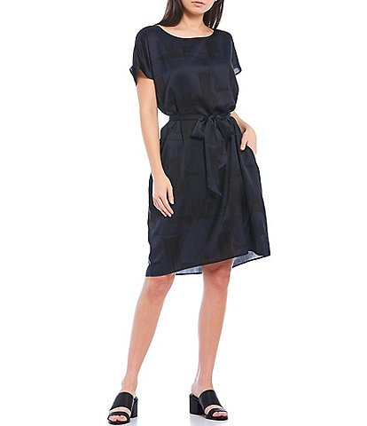 Eileen Fisher Brushstroke Silk Organic Cotton Ballet Neck Short Sleeve Tie Waist Knee Length Dress