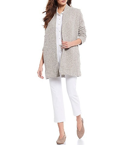 Eileen Fisher Cotton Jersey Classic Collar Button Front Shirt