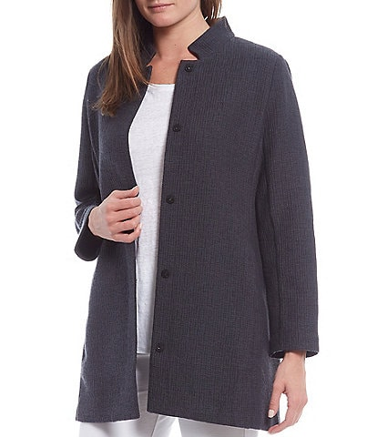Eileen Fisher Cotton Tencel Jacquard Stand Collar Long Jacket
