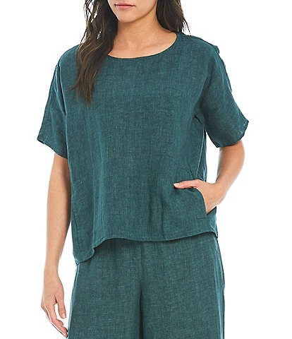 Eileen Fisher Cross Dye Organic Linen Short Sleeve Round Neck Boxy Top