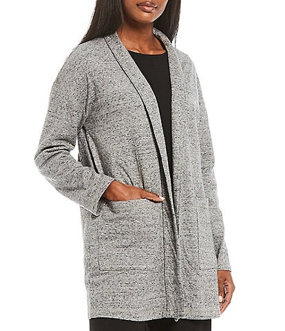 Eileen Fisher Double Layer Organic Cotton High Collar Jacket
