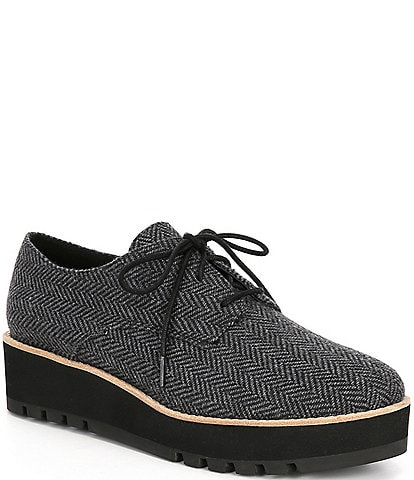 Eileen Fisher Eddy Herringbone Lace-Up Wedge Oxfords