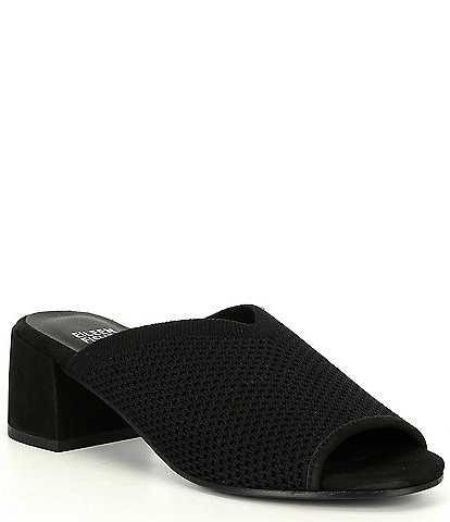 Eileen Fisher Fave Stretch Fabric Block Heel Mules