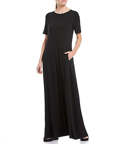 Eileen Fisher Fine Tencel Jersey Crew Neck Short Sleeve Floor Length Dress