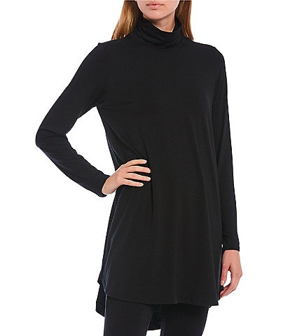 Eileen Fisher Fine Tencel Jersey Scrunch Neck Long Sleeve Hi-Low Tunic