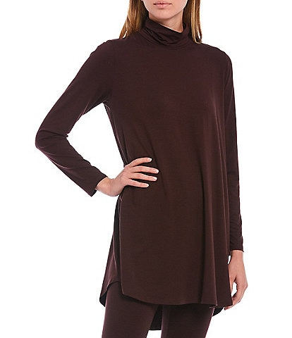 Eileen Fisher Fine Tencel Jersey Scrunch Neck Long Sleeve Tunic