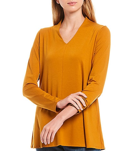 Eileen Fisher Fine Tencel Jersey V-Neck Long Sleeve Top