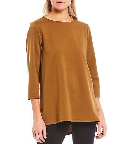Eileen Fisher Flex Ponte Jewel Neck 3/4 Sleeve Hi-Low Tunic