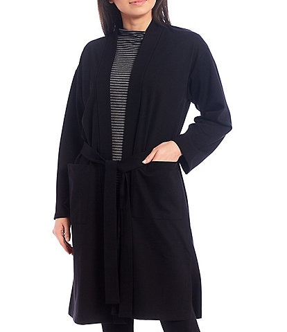 Eileen Fisher Flex Ponte Knee Length Shawl Collar Long Sleeve Belted Jacket with Pockets