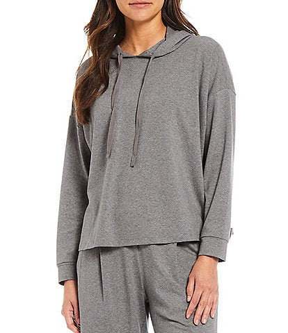 Eileen Fisher Heathered Organic Cotton Stretch Jersey Boxy Coordinating Hoodie