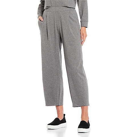Eileen Fisher Heathered Organic Cotton Stretch Jersey Cropped Coordinating Lantern Pants