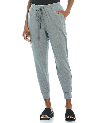 Eileen Fisher Heathered Organic Cotton Stretch Jersey Slouchy Ankle Jogger With Pockets