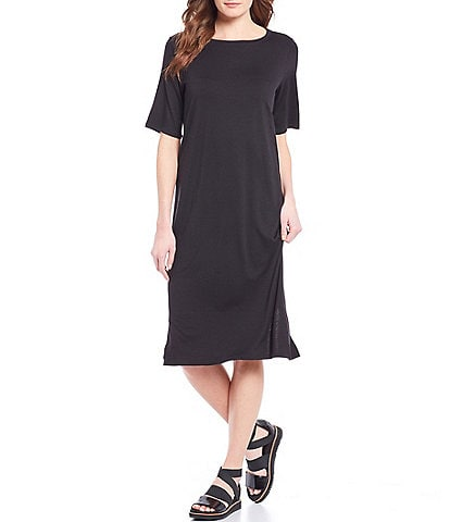 Eileen Fisher Jersey Round Neck Short Sleeve Midi Dress