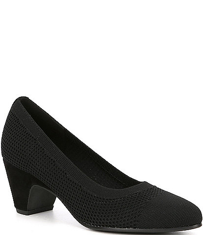 Eileen Fisher Kiss Stretch Fabric Block Heel Pumps